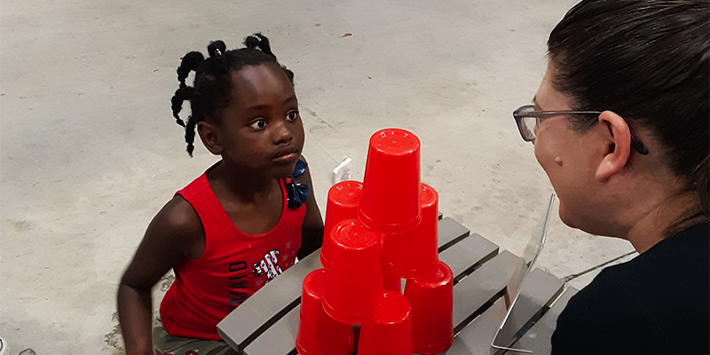 Cup Stacking Eye Contact