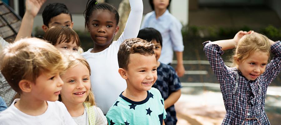 diverse children outside