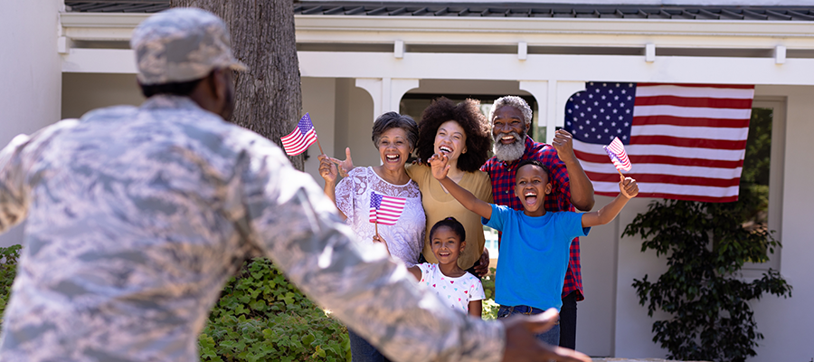 military family welcoming father home