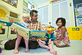 provider and toddler reading