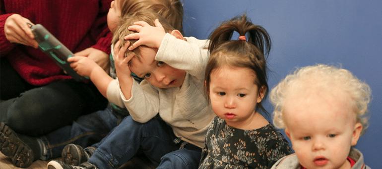 Children during an emergency drill