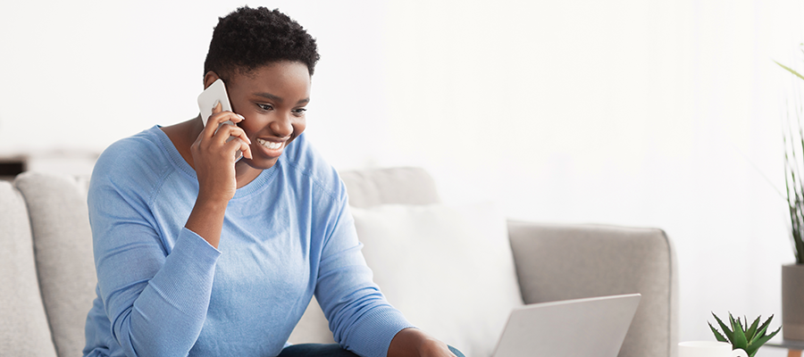 young woman having virtual conversation