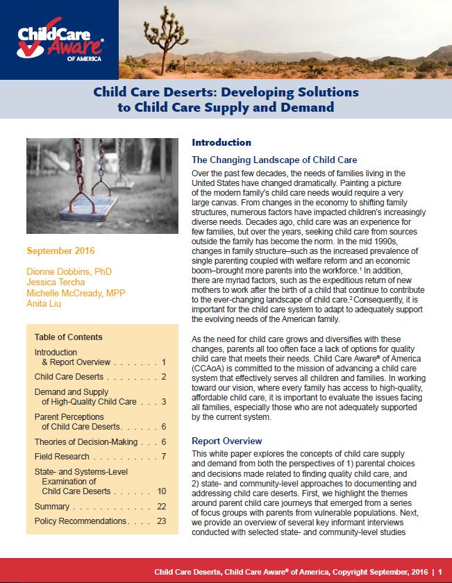 Child Care Deserts: Getting a Handle on Child Care Supply and Demand