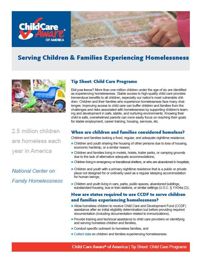 Webinar: Serving Young Homeless Children under CCDF